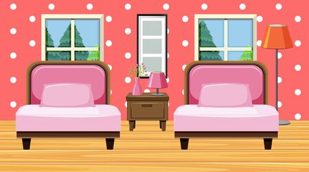 Room with pink sofa and cushions illustration