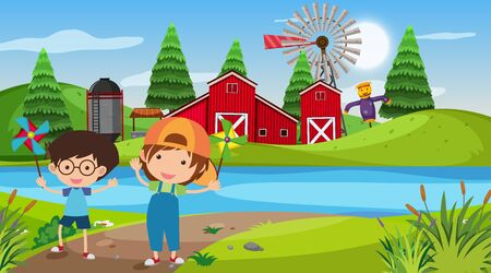 Nature scene with kids on the farm illustration