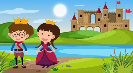 Nature scene with king and queen by the river illustration 일러스트
