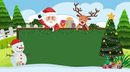 Border template with Santa and snowman on christmas illustration