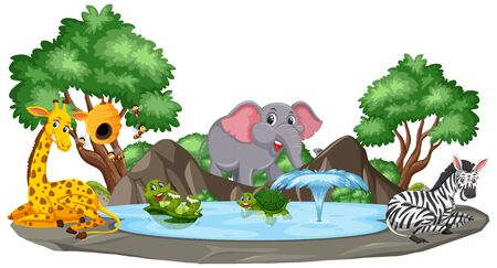 Background scene of wild animals by the pond illustration