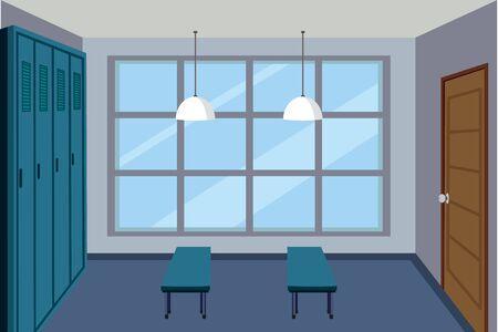 Vestuario con dos bancos ilustración