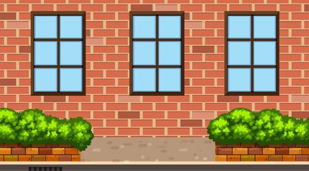 Landscape background with brick building and bush illustration