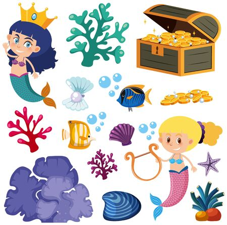 Set of isolated mermaid and fish illustration
