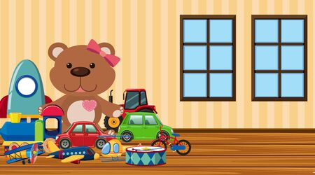 Scene with many cute toys on the floor illustration Ilustração