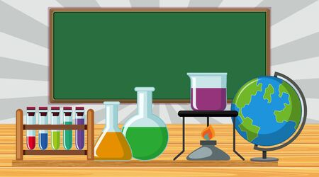 Classroom with science equipments on the table illustration