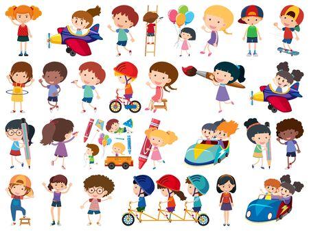 Large set of isolated objects of kids illustration Illusztráció