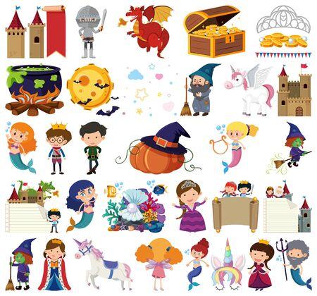 Set of isolated objects theme fairytales illustration Illusztráció