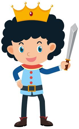 Single character of prince on white background illustration