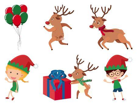 Christmas set with reindeer and kids illustration Ilustração