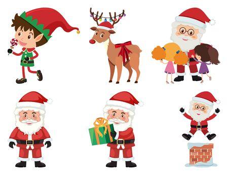 Christmas set with Santa and reindeer illustration