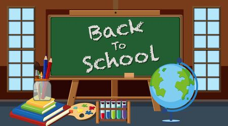 Background with chalkboard in classroom illustration