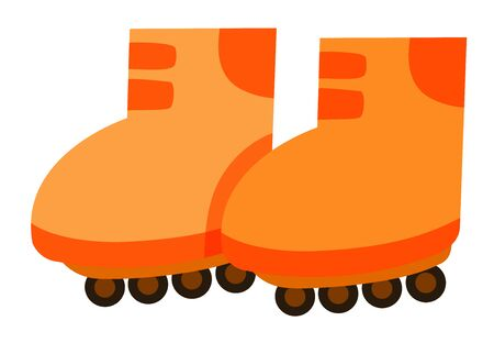 Isolated pair of rollerskates in orange color illustration