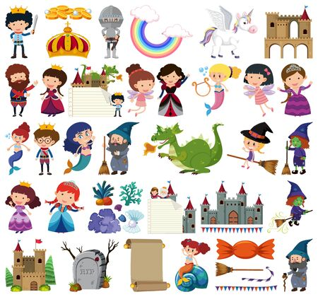 Set of isolated objects theme fairytales illustration