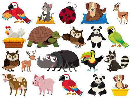 Set of isolated objects theme animals illustration Foto de archivo - 137480115
