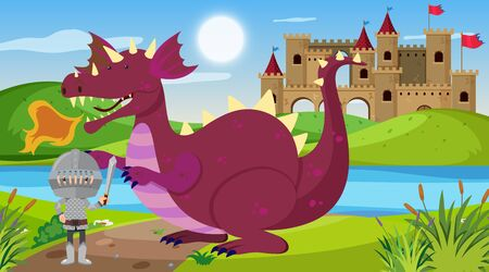 Scene with knight and dragon in fairytale land illustration