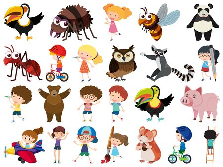 Conjunto de ilustración de niños y animales de tema de objetos aislados