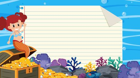 Border template with underwater scene in background illustration Illustration