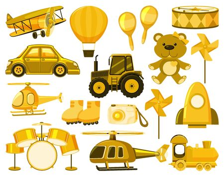 Large set of different objects in yellow illustration