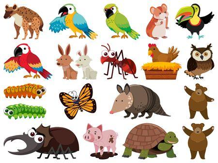 Set of isolated objects theme animals illustration Foto de archivo - 137564343