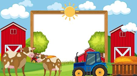Border template with farm scene in background illustration  イラスト・ベクター素材