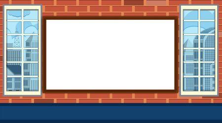 Whiteboard template on brick wall illustration