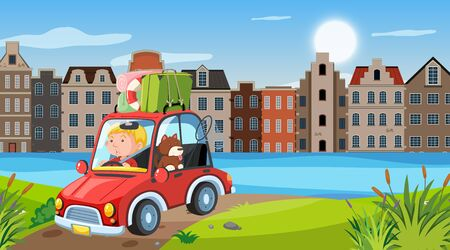 Nature scene with man driving in the city illustration