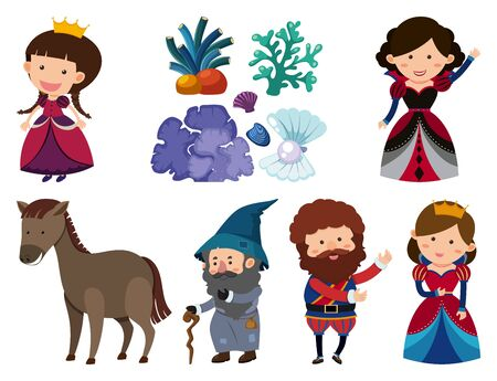 Set of isolated objects theme fairytale illustration Vector Illustratie