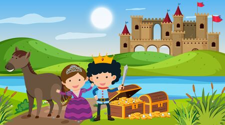 Scene with prince and princess in fairytale land illustration