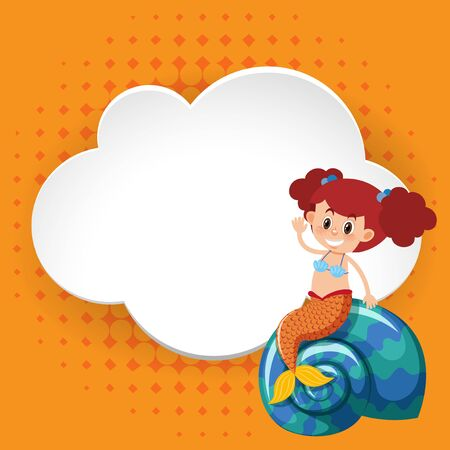 Frame template design with cute mermaid illustration