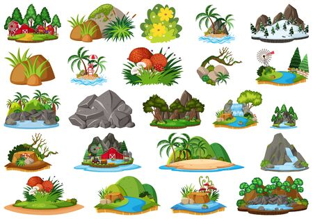 Set of isolated objects theme - landforms and plants illustration