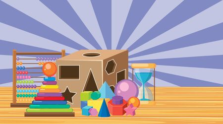 Scene with many toys in the room illustration Vecteurs
