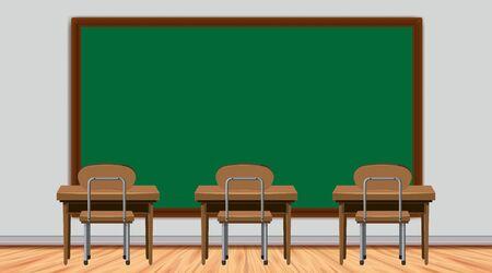 Klassenzimmerszene mit Tafel- und Schreibtischillustration Vektorgrafik