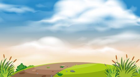 Landscape background design of road on the hill illustration  イラスト・ベクター素材