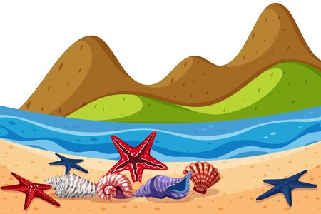 Scenery background of seashells and starfish on beach illustration