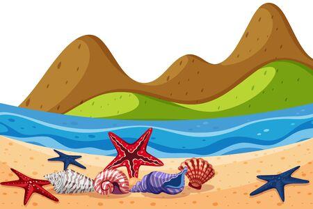 Scenery background of seashells and starfish on beach illustration