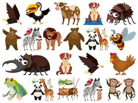 Set of isolated objects theme animals illustration Foto de archivo - 137480393