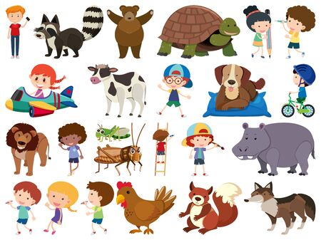 Set of isolated objects theme animals and kids illustration