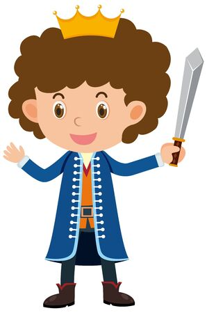 Single character of prince with sword on white background illustration
