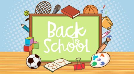 Back to school sign with board and school items illustration 矢量图像