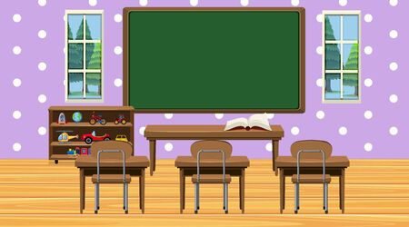 Classroom scene with chalkboard and desks illustration