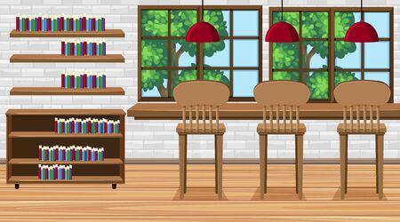 Scena z wysokimi krzesłami i książkami na ilustracji pokoju