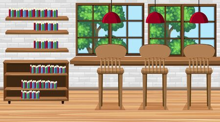 Scene with high chairs and books in the room illustration