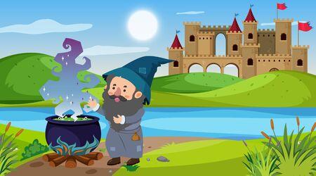 Scene with wizard making magic brew illustration