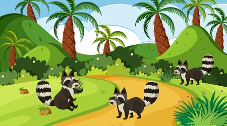 Background scene with raccoons in the forest illustration