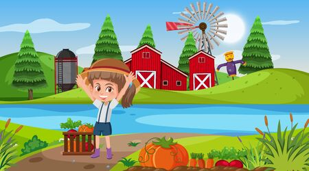 Farm scene with girl and vegetable garden illustration
