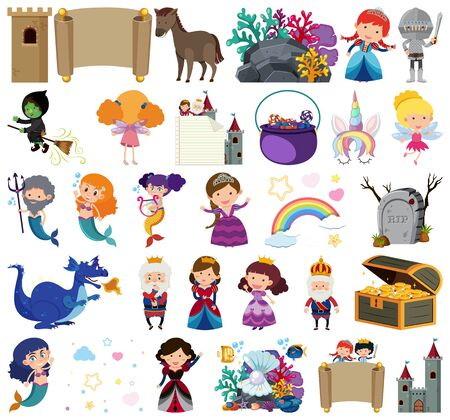 Set of isolated objects theme fairytale illustration Illustration