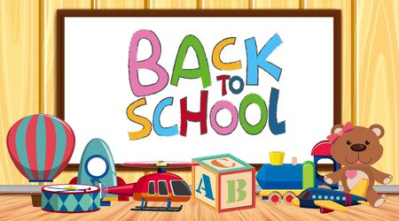 Back to school sign with many toys on the floor illustration 矢量图像