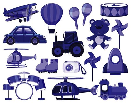 Large set of different objects in blue illustration