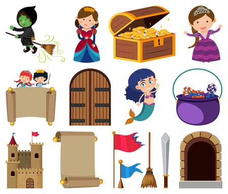 Set of isolated objects theme fairytales illustration Illustration